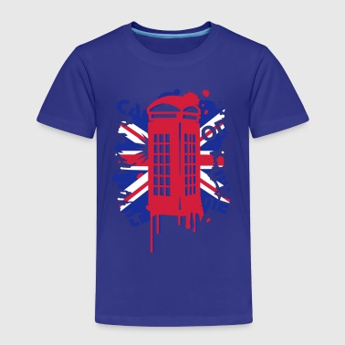 red telephone box with a British flag - Kids' Premium T-Shirt