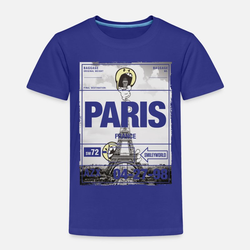 Officialbrands T-shirts - Smileyworld 'Paris La tour Eiffel' - T-shirt premium Enfant bleu roi