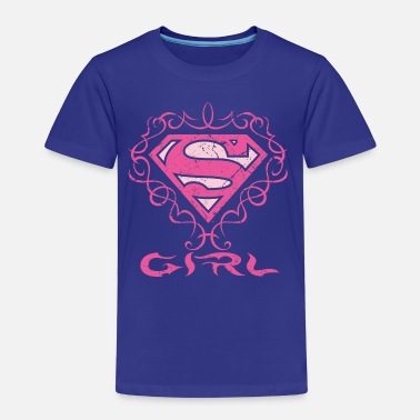Superman S-Shield Girl pink floral - Kinder Premium T-Shirt