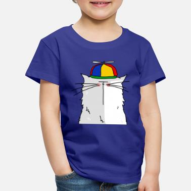 Collection For Kids Portrait of a cat with cap propeller - Lasten premium t-paita