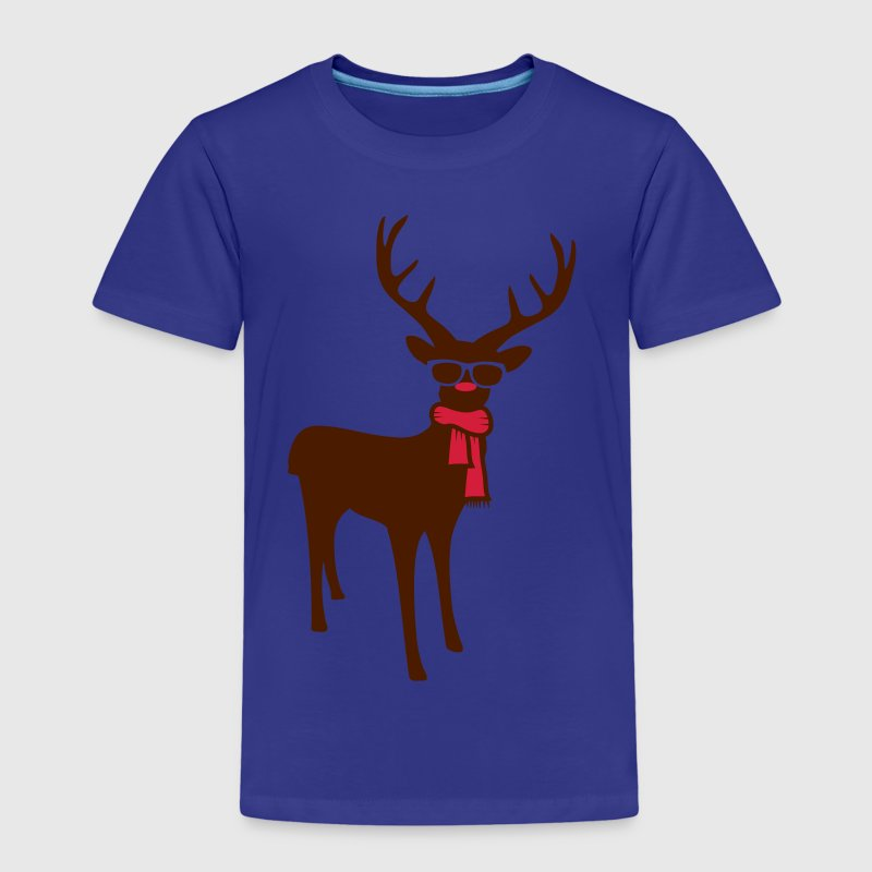 A reindeer with scarf and glasses - Kids' Premium T-Shirt