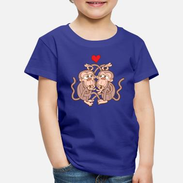 Tenderly Monkeys Eating Lice and Falling in Love - Kids' Premium T-Shirt