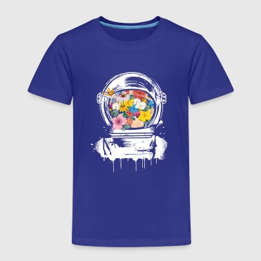 Astronaut Space Helmet with flowers - Kids' Premium T-Shirt