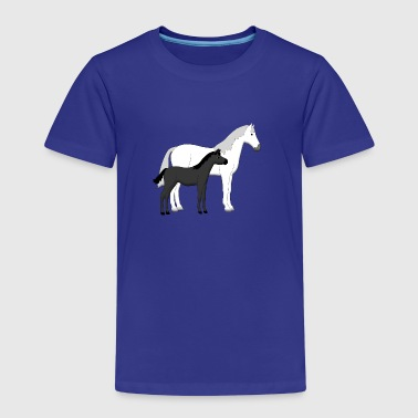 horse and foal white and black - Kinderen Premium T-shirt
