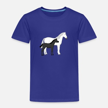 Haflinger Paard horse and foal white and black - Kinderen Premium T-shirt