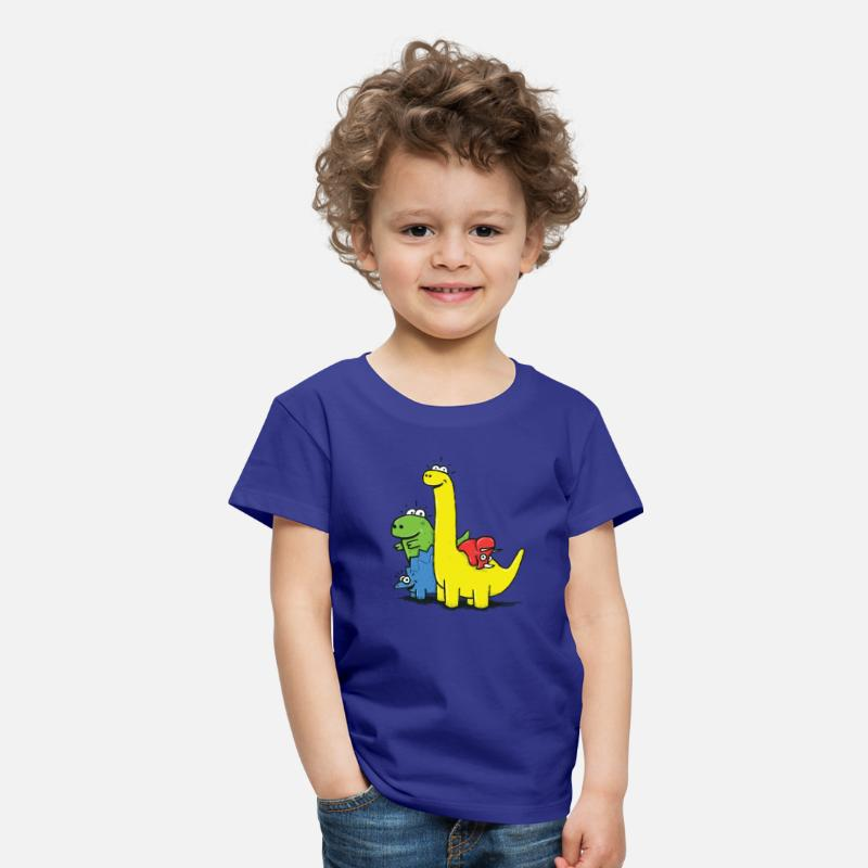 Barn T-shirts - Dino Gang, Colored - Premium T-shirt barn kungsblå