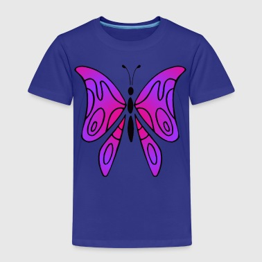 Pink and purple butterfly - Lasten premium t-paita