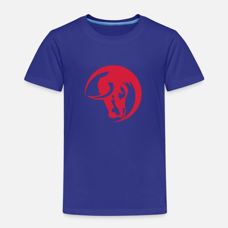 Animal T-shirts - taureau logo animal cercle 30 - T-shirt premium Enfant bleu roi