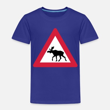 Traffic Warning Moose Sign - Kids' Premium T-Shirt
