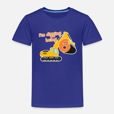 Boy Excavator construction worker child birthday boy 6 years - Kids' Premium T-Shirt