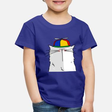Collection For Kids Portrait of a cat with cap propeller - Premium T-shirt til børn