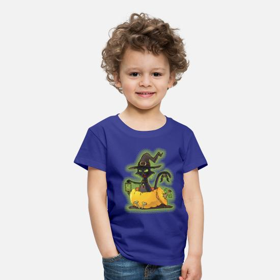 Halloween T-Shirts - Halloween Black Witch Cat in Pumpkin - Kids' Premium T-Shirt royal blue