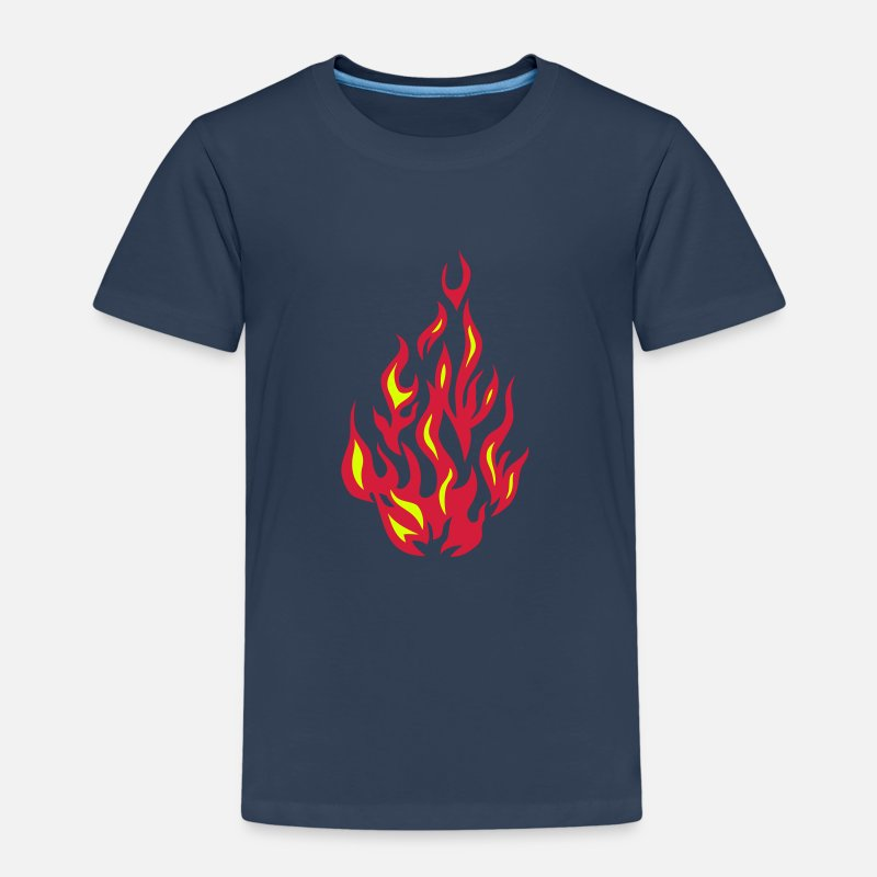 Flame T-Shirts - fire flame 2804) - Kids' Premium T-Shirt navy