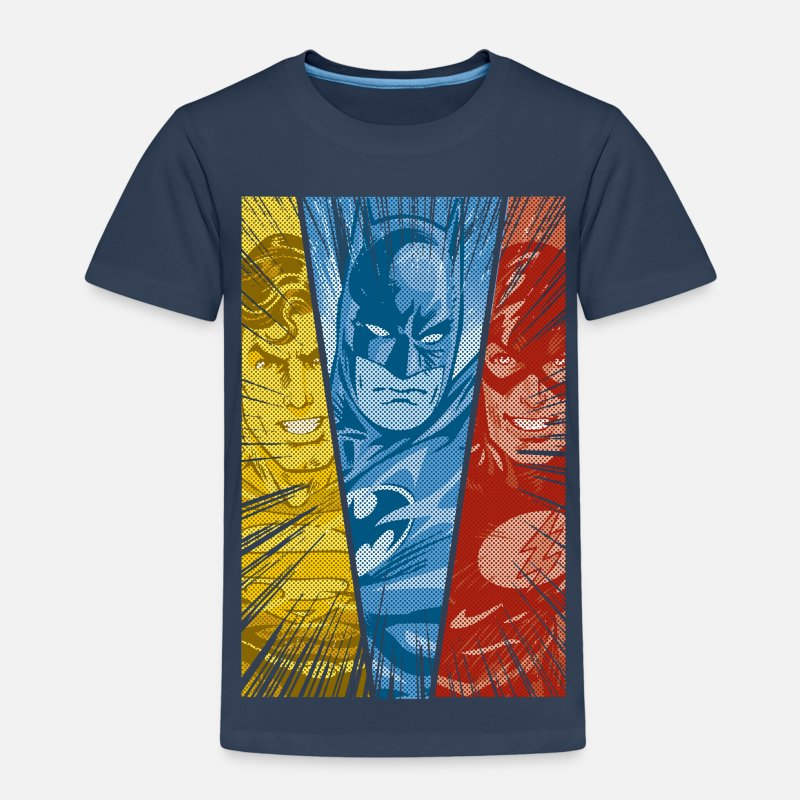 Batman T-paidat - DC Comics Justice League Superman Batman Flash - Lasten premium t-paita navy