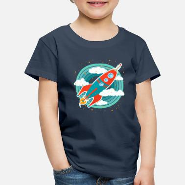 Space Retro Rocket (circles) - Kids' Premium T-Shirt