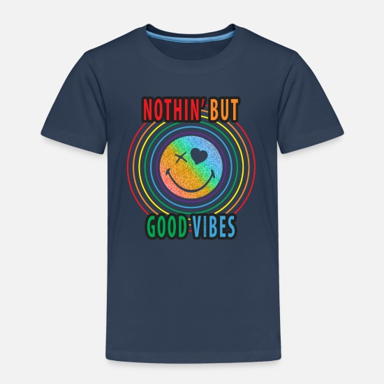 Officialbrands T-shirts - SmileyWorld Good Vibes - Kinderen premium T-shirt navy