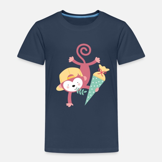 Kindergarten T-Shirts - MONKEY AT SCHOOL - Kinder Premium T-Shirt Navy