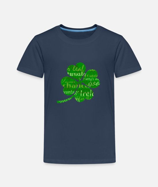 St T-Shirts - Irelands St patricks day worded 4 leaf shamrock - Kids' Premium T-Shirt navy