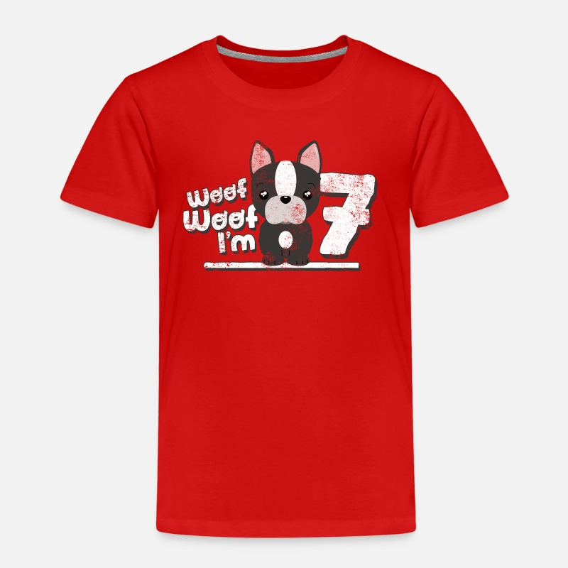 Bestsellers Q4 2018 T-Shirts - Woof! I'm seven! 7th Birthday Sweet Dog Kin - Kids' Premium T-Shirt red