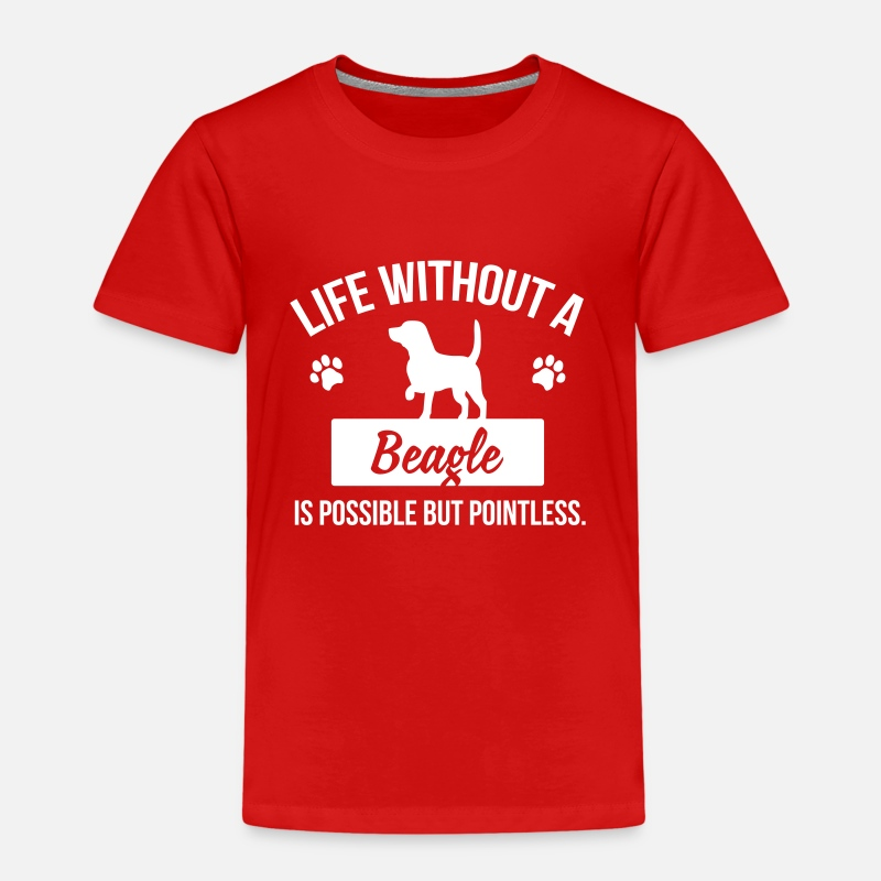 Hassu T-paidat - Dog shirt: Life without a Beagle is pointless - Lasten premium t-paita punainen