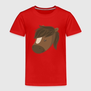Horses head cute cartoon animal child riding baby - Kids' Premium T-Shirt