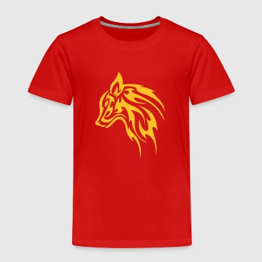 Feral Tribal Wolf Head 1c - Kids' Premium T-Shirt