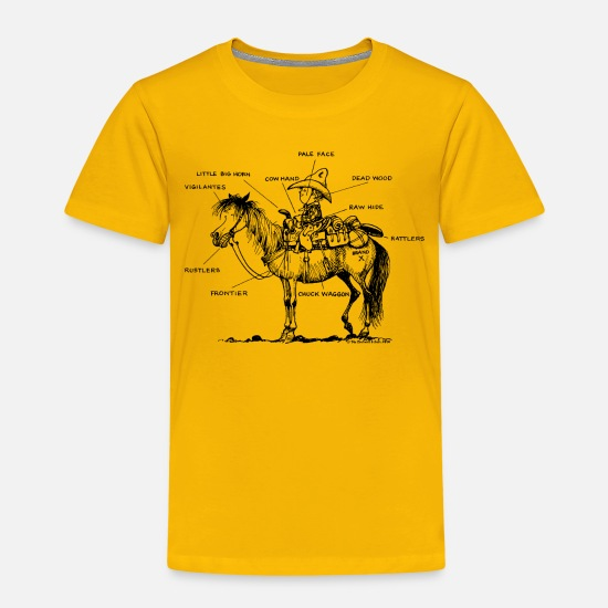 Norman T-Shirts - Thelwell 'Learning Western riding' - Kids' Premium T-Shirt sun yellow