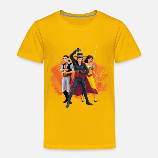 Zorroclassic T-Shirts - Zorro The Chronicles Ines Bernardo Don Diego - Kids' Premium T-Shirt sun yellow