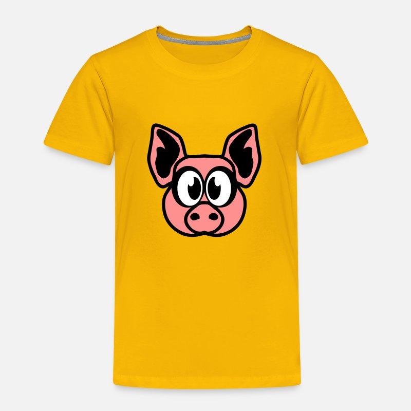Cochon dessin animaux rigolo 2310 t shirt premium enfant - Dessin soleil rigolo ...