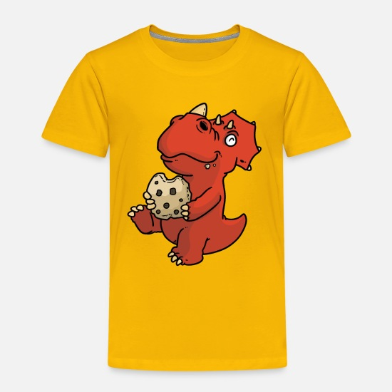 Dinosaur T-Shirts - Dino with biscuit - Kids' Premium T-Shirt sun yellow