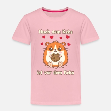 Hamster eats crumbs biscuit | Golden Hamster biscuit saying - Kids' Premium T-Shirt