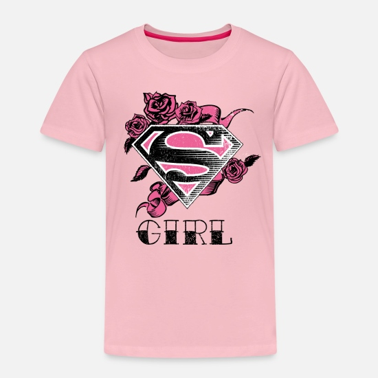 Hero T-shirts - Tee-shirt Femme Superman S-Shield Girl 2 - T-shirt premium Enfant rose liberty