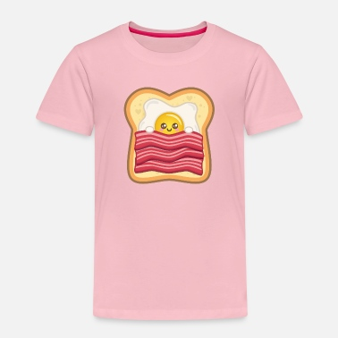Egg Kawaii fried egg with bacon on toast | Egg + bacon - Kids' Premium T-Shirt
