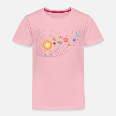 Galaxey Outer Space Funny Flat Earth Science Planets - Kids' Premium T-Shirt