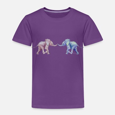 Trunk Two elephants - trunk to trunk (rose,blue) - Kids' Premium T-Shirt