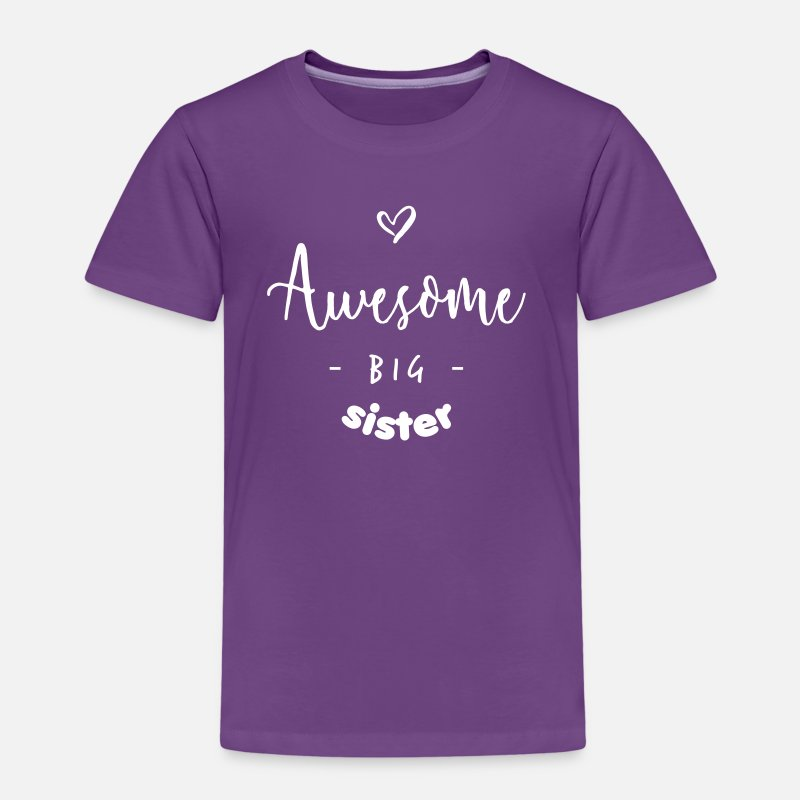 Sister T-Shirts - Awesome BIG Sister - Kinderen premium T-shirt paars