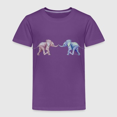 Two elephants - trunk to trunk (rose,blue) - Kids' Premium T-Shirt