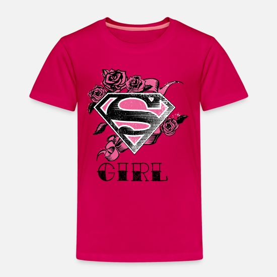 Supergirl T-shirts - Tee-shirt pour enfants Superman S-Shield Girl Rose - T-shirt premium Enfant rubis