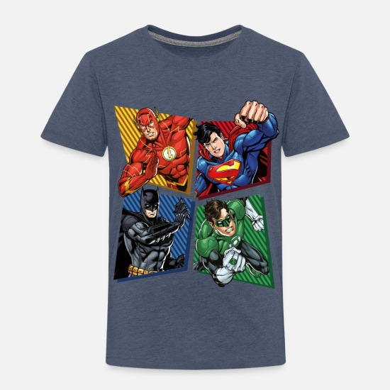 Kinder T-Shirts - DC Comics Justice League Superhelden - Kinder Premium T-Shirt Blau meliert