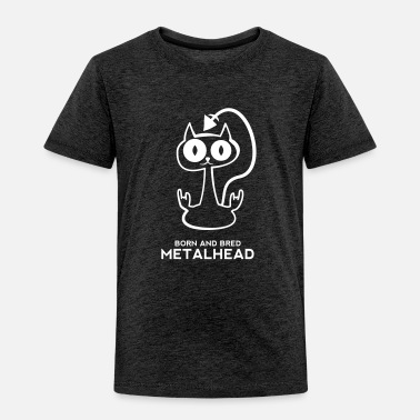 Born And Bred Metalhead Heavy metal cat for dark backgrounds - Kids' Premium T-Shirt