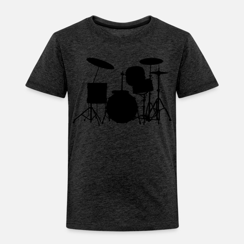 Drumstel T-Shirts - music drums drum set - Kinderen premium T-shirt houtskool