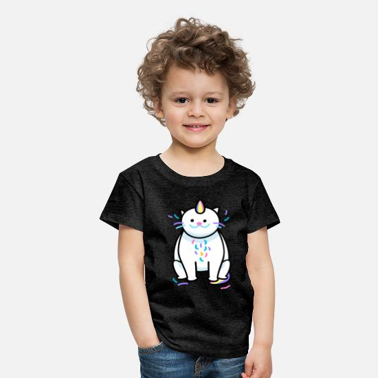 Birthday T-Shirts - catcorn - Kids' Premium T-Shirt charcoal grey