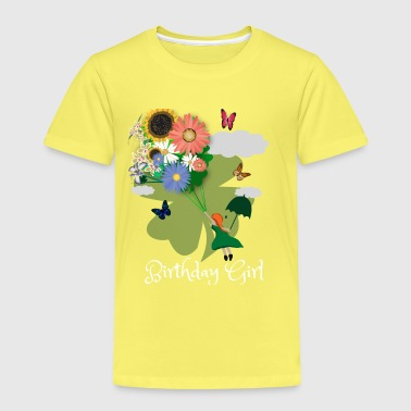 Flowers, Butterflies, Birthday Girl - Kids' Premium T-Shirt
