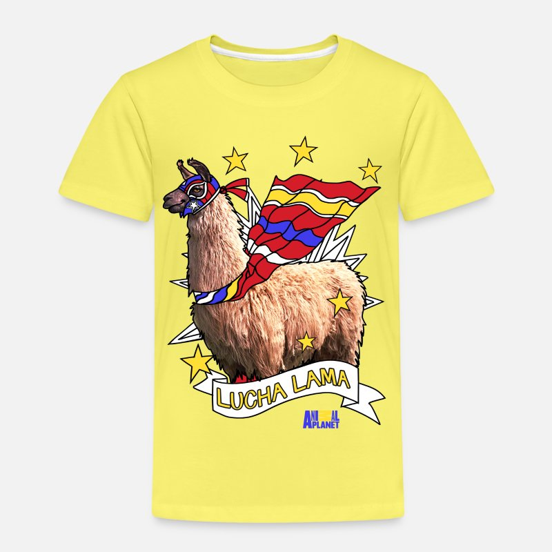 Animals T-Shirts - Animal Planet Funny Wrestling Lucha Llama - Kids' Premium T-Shirt yellow