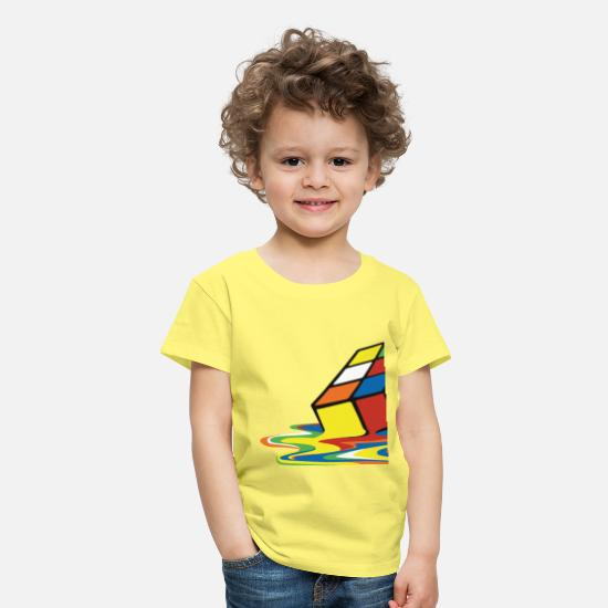 Geek T-shirts - Rubik's Cube Melted Colourful Puddle - Kinderen premium T-shirt geel