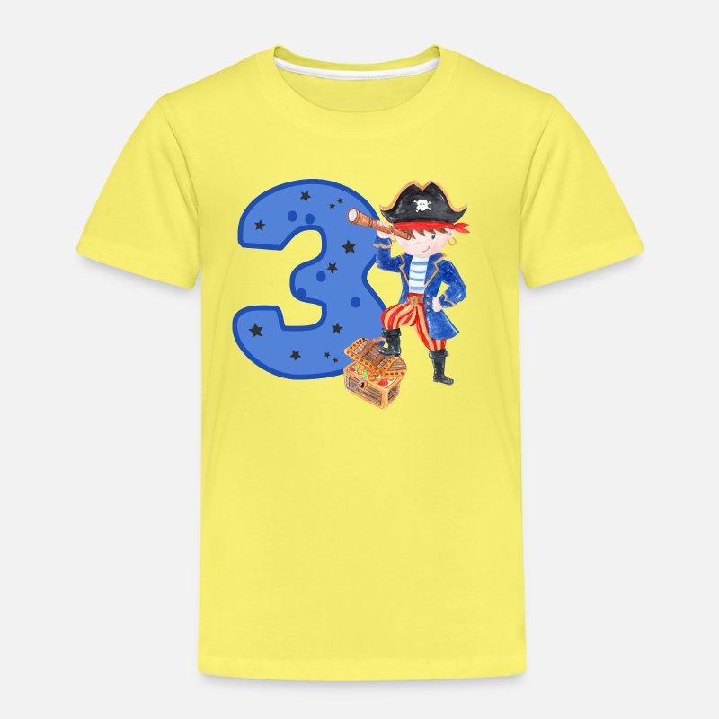 3 Years Birthday Child Pirate Boy Treasure Hunt Kids Premium T