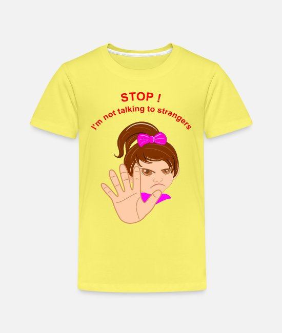 Stop T-Shirts - Stop - Child protection girl - Kinder Premium T-Shirt Gelb