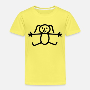 Stick figure hello hug drawing girl - Kids' Premium T-Shirt