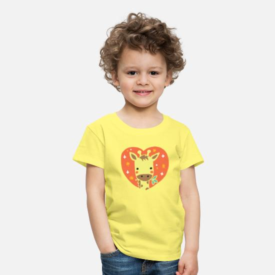School Girls T-Shirts - Giraffe heart gift - Kids' Premium T-Shirt yellow