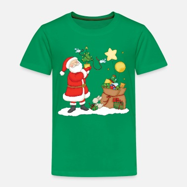 Weihnachten Santa Claus with bag of Christmas Gifts. - Kinder Premium T-Shirt